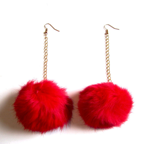 Fluffy Red Faux Fur Ball Pom Pom Chain Drop Earrings