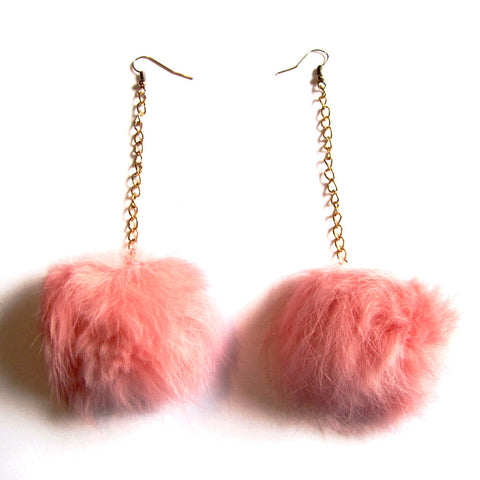 Fluffy Pink Faux Fur Pom Pom Ball Chain Drop Earrings