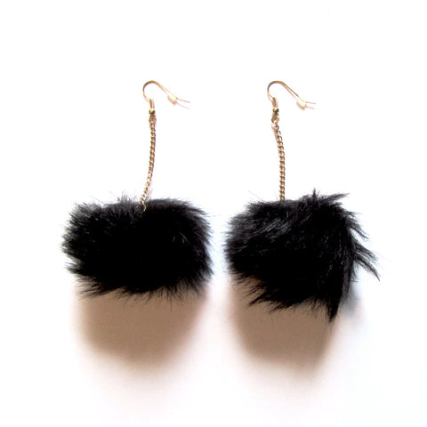 Fluffy Black Pom Pom Faux Fur Ball Chain Drop Earrings