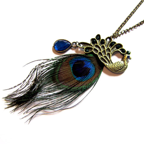 Statement Peacock Vintage Style Feather Gemstones Pendant Necklace