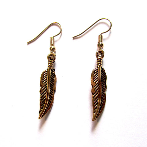 Simply Sassy Golden Metal Feather Drop Earrings