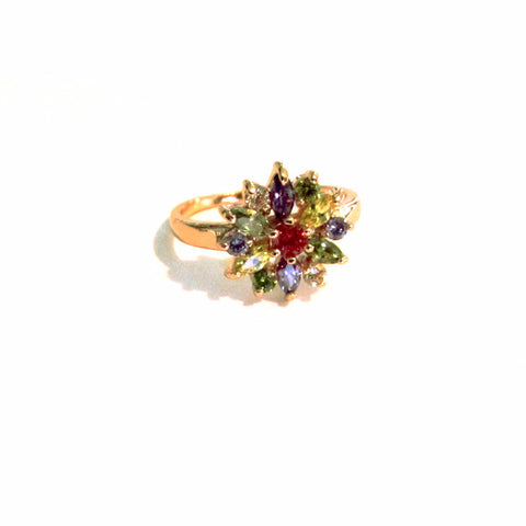Beautiful Multicolour Faux Gemstones Sparkling Flower Dress Ring