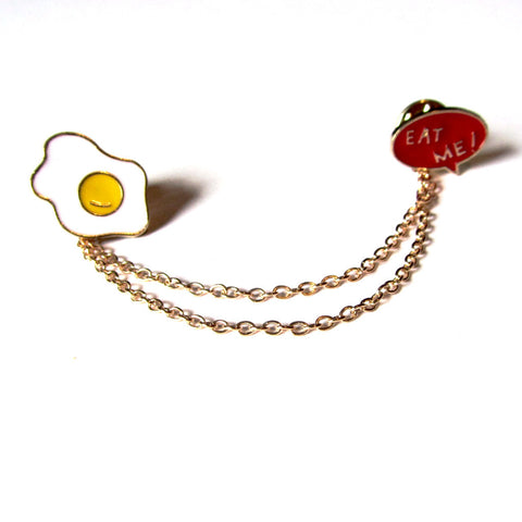 Fun Fried Egg and Eat Me Chain Pin Badge Brooch