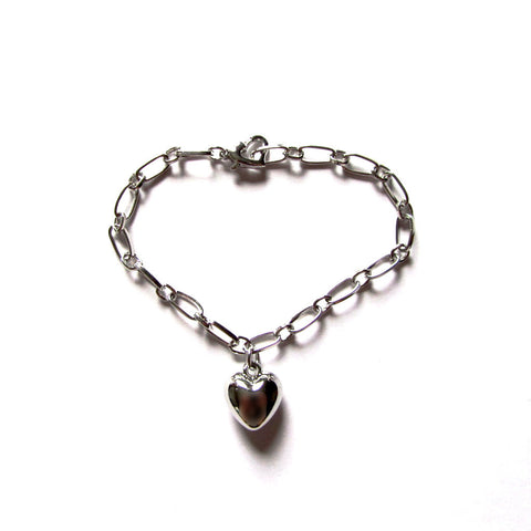 Elegantly Pretty Silvery Heart Charm Chain Bracelet