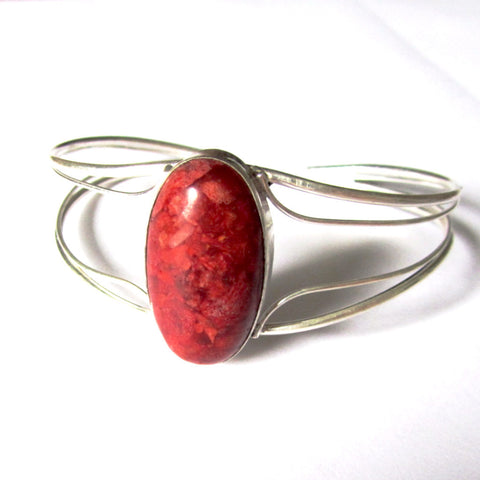 Pretty Silver Semi-Precious Stone Bangle
