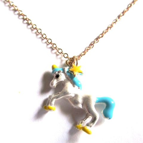 Pretty Kitsch Blue, Yellow and Silver Fairground Unicorn Pendant Necklace