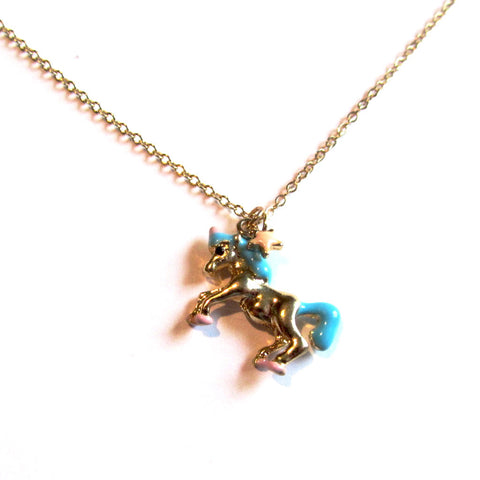 Pretty Kitsch Blue, Pink and Gold Fairground Unicorn Pendant Necklace