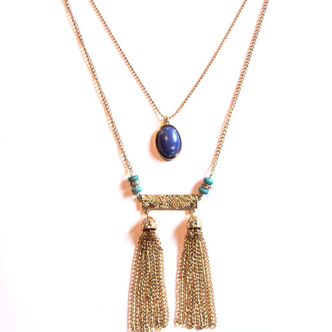 Stunning Chain Tassel Drop Cabochon Stone Long Statement Fashion Necklace