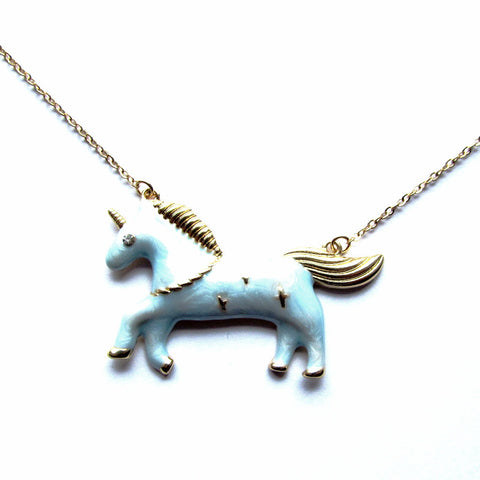 Gorgeous Gold and Blue Fairground Style Unicorn Pendant Necklace