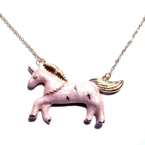 Gorgeous Gold and Pink Fairground Style Unicorn Pendant Necklace