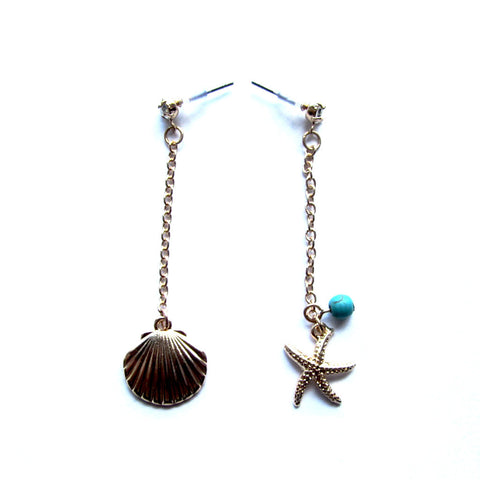 Dainty Oyster Sea Shell Starfish Dangle Earrings