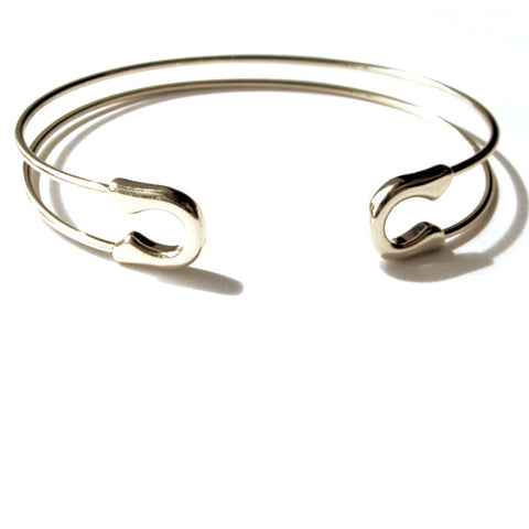 Cool Safety Pin Design Golden Bangle Bracelet