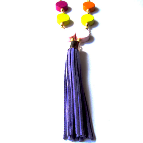 Bright Colourful Beads Statement Tassel Summer Fashion Necklace