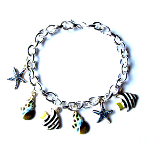Gorgeous Sea Shell Fish Marine Theme Charm Bracelet