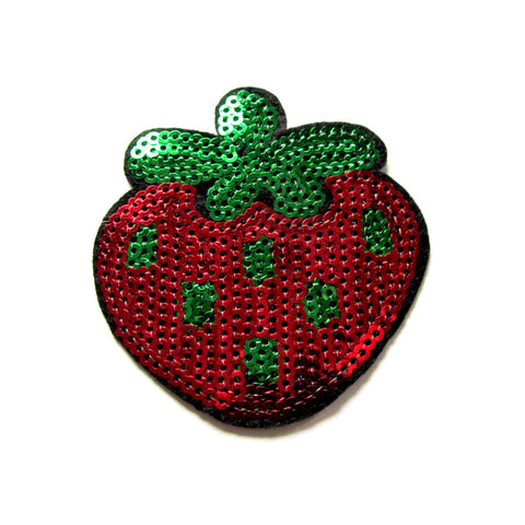 DIY Fashion Sequin Strawberry Iron On Patch