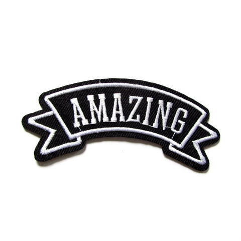 DIY Fashion AMAZING Monochrome Banner Iron On Patch