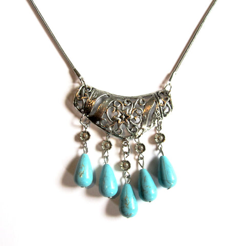 Beautiful Silver Turquoise Ethnic Beads Floral Necklace