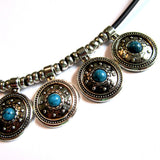 Cool Silver Turquoise Discs Rock Chic Necklace