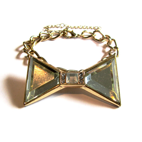 Statement Pretty Clear Bling Bow Golden Chunky Chain Bracelet