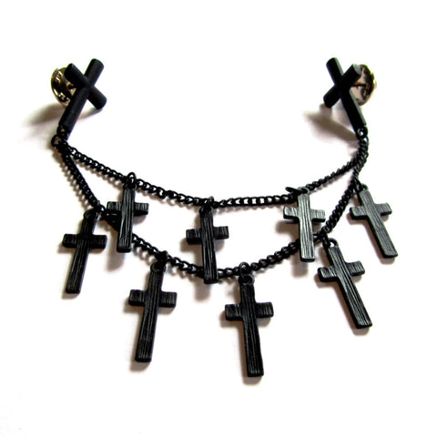 Multiple Black Crosses Chain 90s Double Collar Pin Badge Brooch
