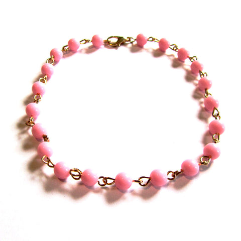 Pretty Pink Beads Summer Anklet