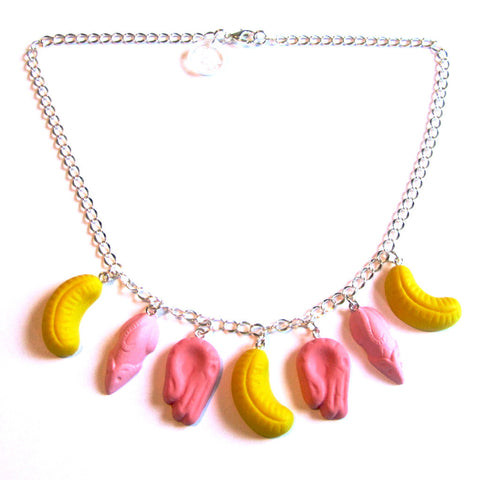 Colourful Kitsch Retro Pink Shrimp, Pink Mice and Yellow Banana Fun Faux Sweets Polymer Clay Necklace