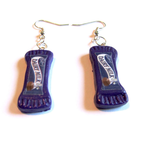 Polymer Clay Dairy Milk Chocolate Bar Drop Earrings