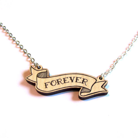 Stylish Retro Forever Love Wooden Banner Pendant Necklace