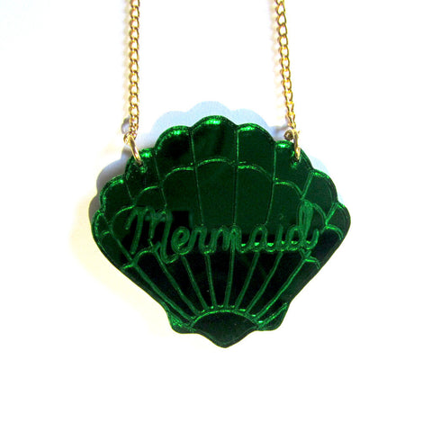 Beautiful Green Mirror Mermaid Scallop Sea Shell Acrylic Pendant Necklace