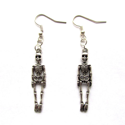 Spike the Skeleton Rock Goth Metal Drop Earrings