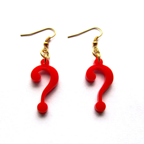 Doctor Who Question Mark Acrylic Drop Earrings