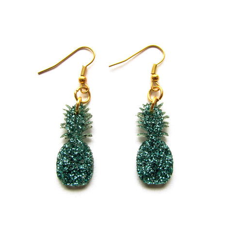 Gorgeous Glitter Green Pineapple Acrylic Drop Earrings