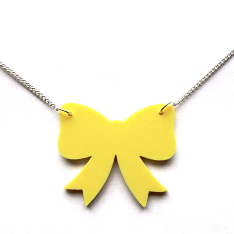 Pastel Yellow Retro Ribbon Bow Pendant Necklace