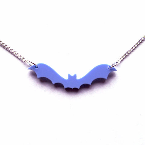 Classic Flying Bat Gothic Lilac-Blue Pendant Necklace