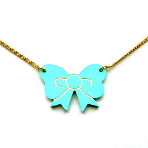 Pastel Peppermint Green Retro Ribbon Bow Acrylic Pendant Necklace