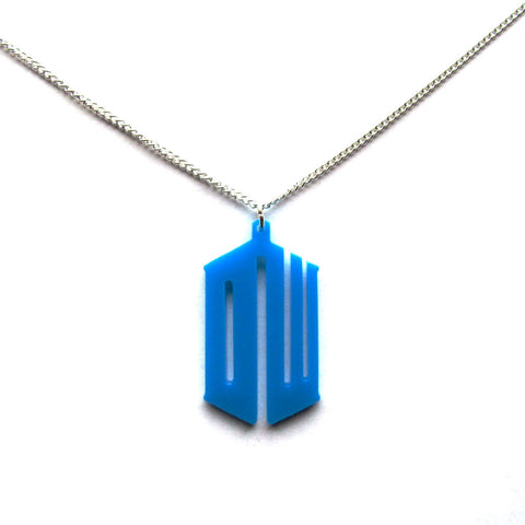 Doctor Who DW Blue Acrylic Pendant Necklace