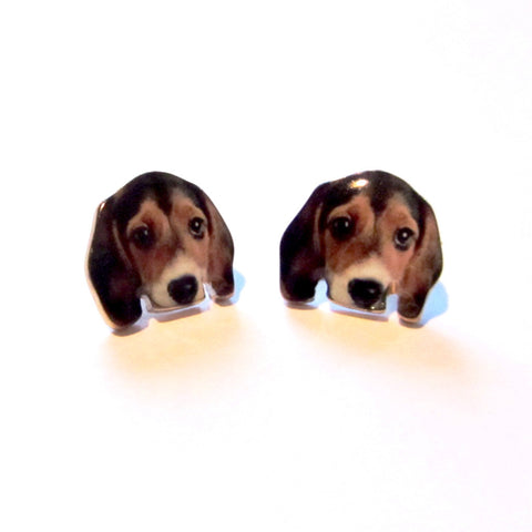 Lovable Ditsy Puppy Dog Face Stud Earrings