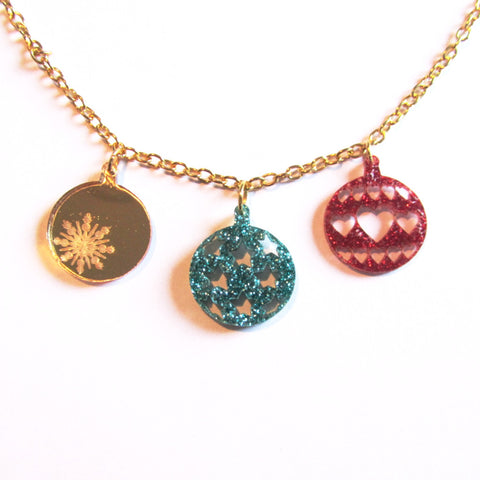 Glittering Green Red Golden Sparkle Christmas Baubles Charm Necklace