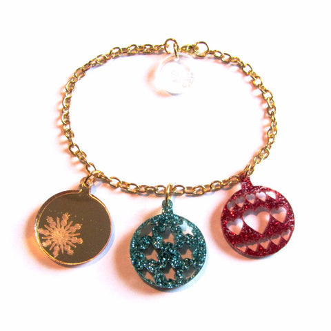 Glittering Green Red Golden Sparkle Christmas Baubles Charm Bracelet