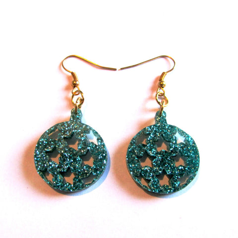 Gorgeous Glitter Green Stars Bauble Christmas Drop Earrings