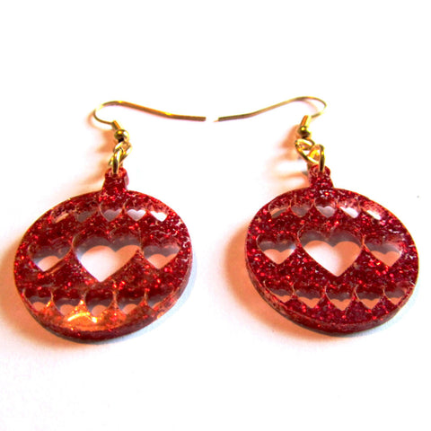 Gorgeous Glitter Red Hearts Bauble Christmas Drop Earrings