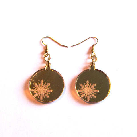 Gorgeous Golden Mirror Bauble Christmas Drop Earrings