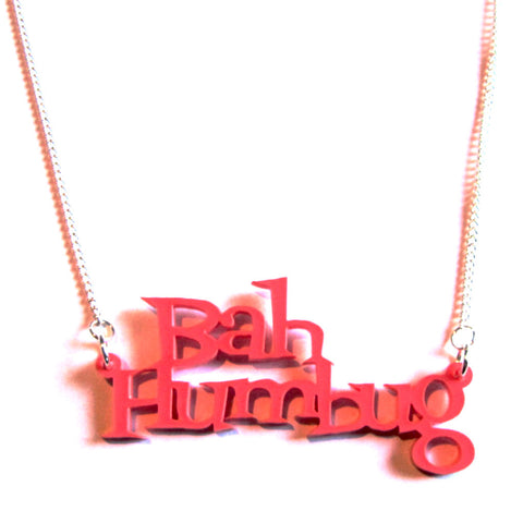 Fun Bah Humbug Raspberry Acrylic Word Necklace