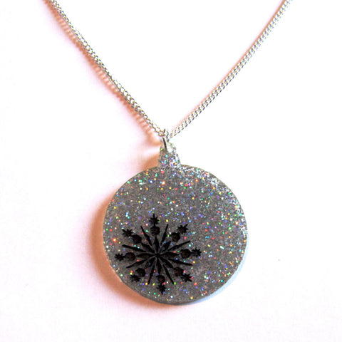 Large Statement Silver Sparkles Glitter Christmas Bauble Pendant Necklace