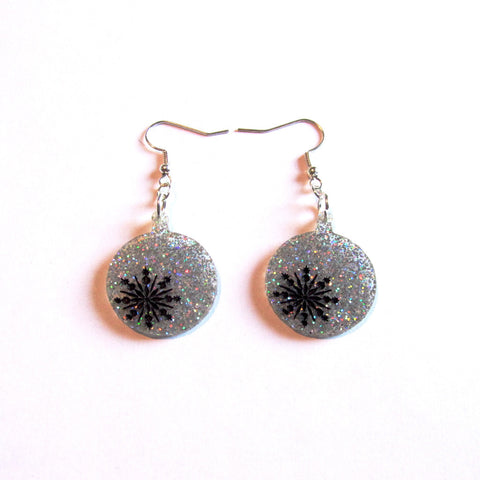 Large Statement Silver Sparkles Christmas Bauble Drop Earrings