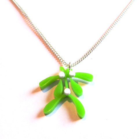 Kiss Me Mistletoe Acrylic Pendant Necklace