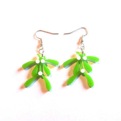 Kiss Me Mistletoe Acrylic Drop Earrings