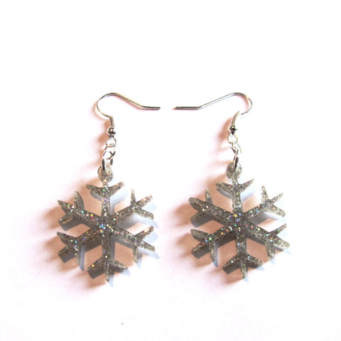 Sparkling Snowflake Glitter Christmas Drop Earrings