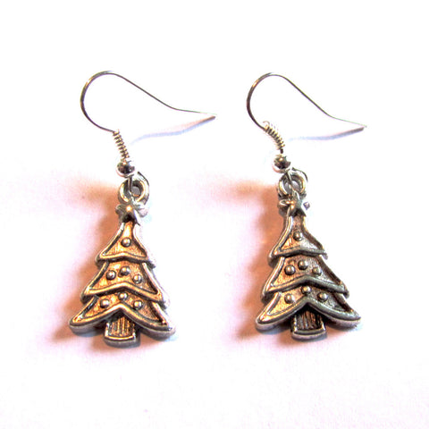Dinky Silver Christmas Tree Drop Earrings