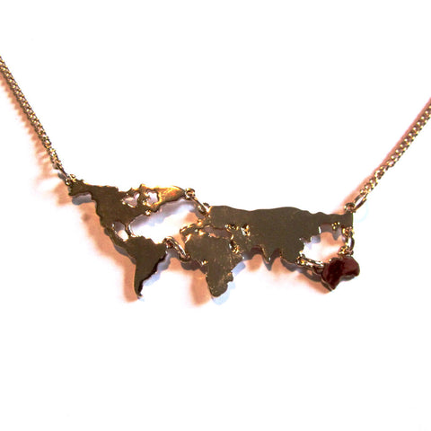 Amazing World Map Golden Statement Necklace